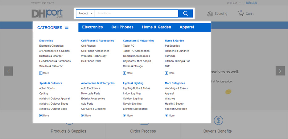 "Search for a product using the search engine or ""CATEGORIES"" tab."